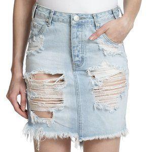 ONE TEASPOON Distressed Denim Skirt